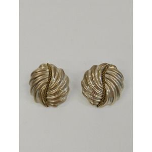 Laton Sterling 2 Tone Swirl Earrings, Taxco Mexico